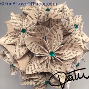 Paper flowers made from book A Wrinkle in Time
