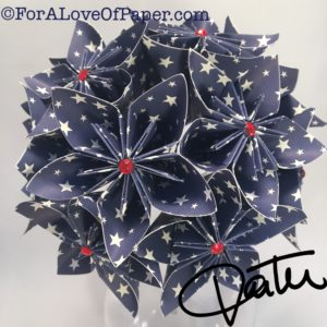 Deep blue paper flowers with white printed stars