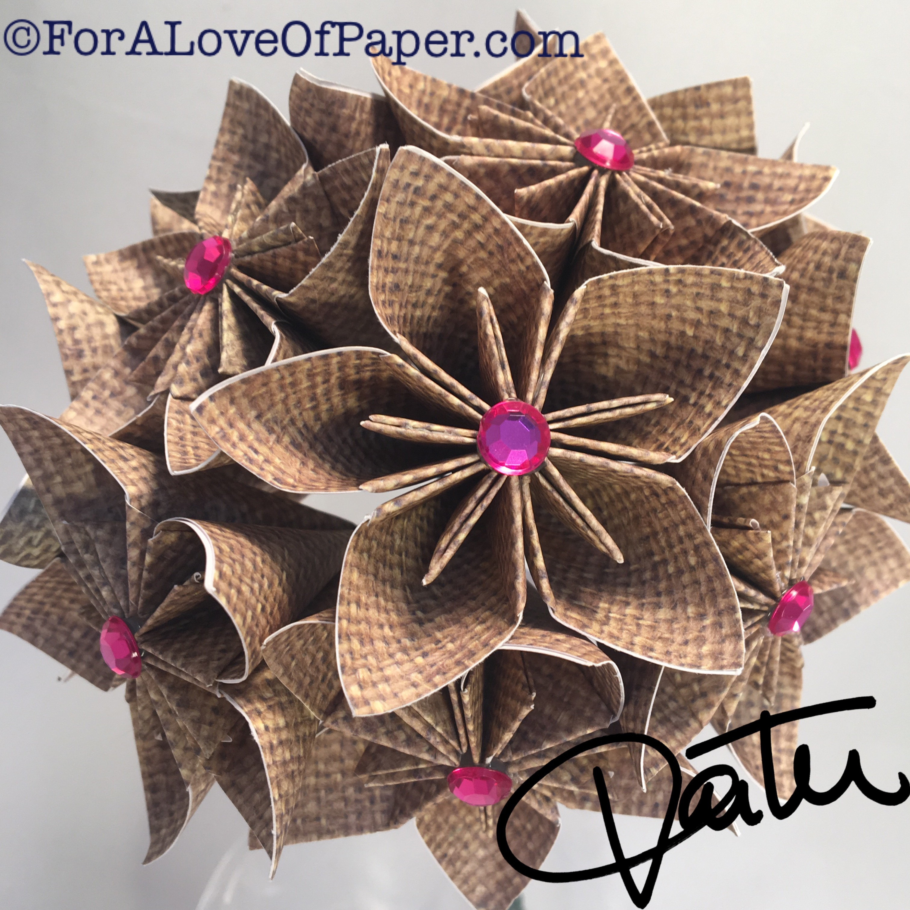 Burlap pattern paper flowers