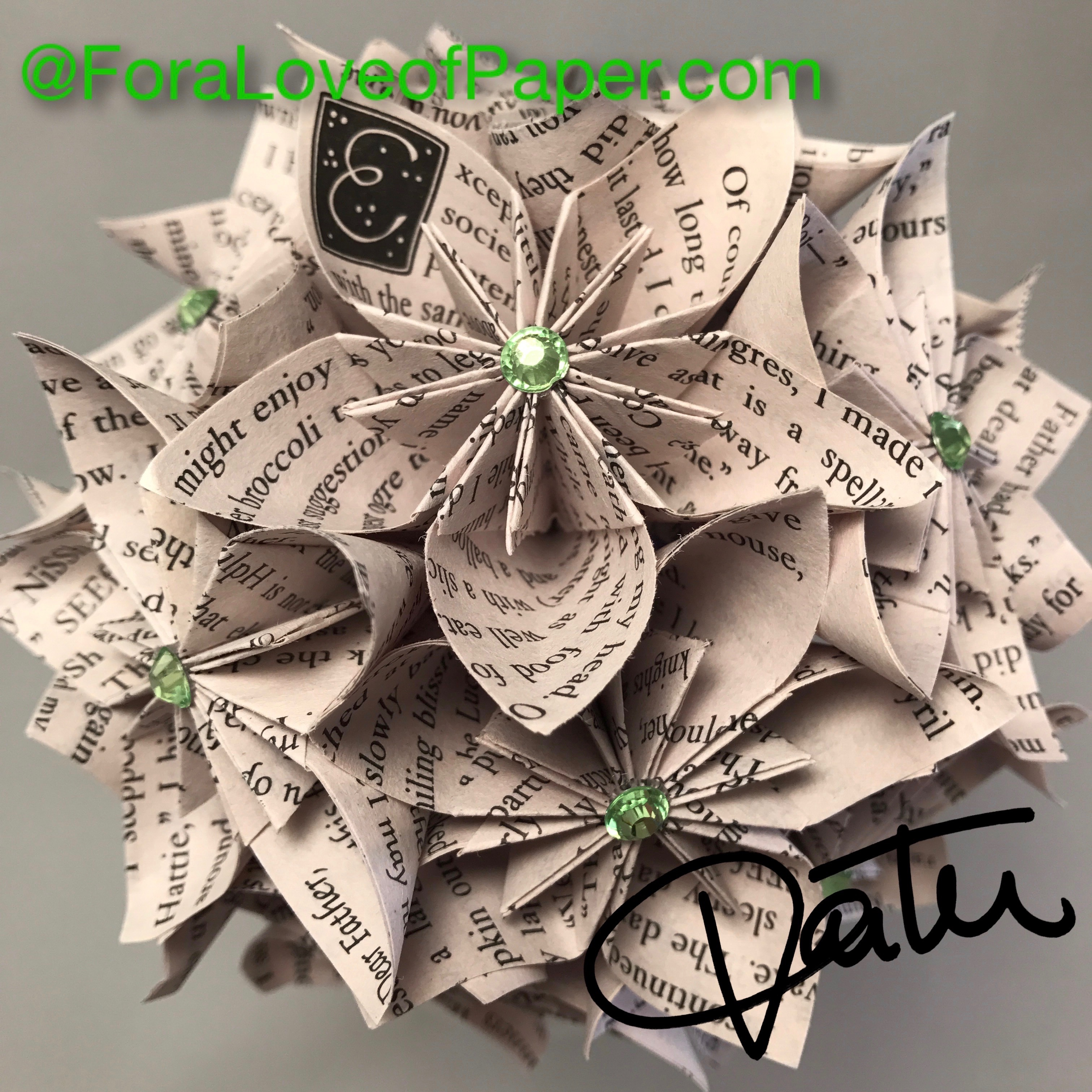 Paper flowers made from book Ella Enchanted