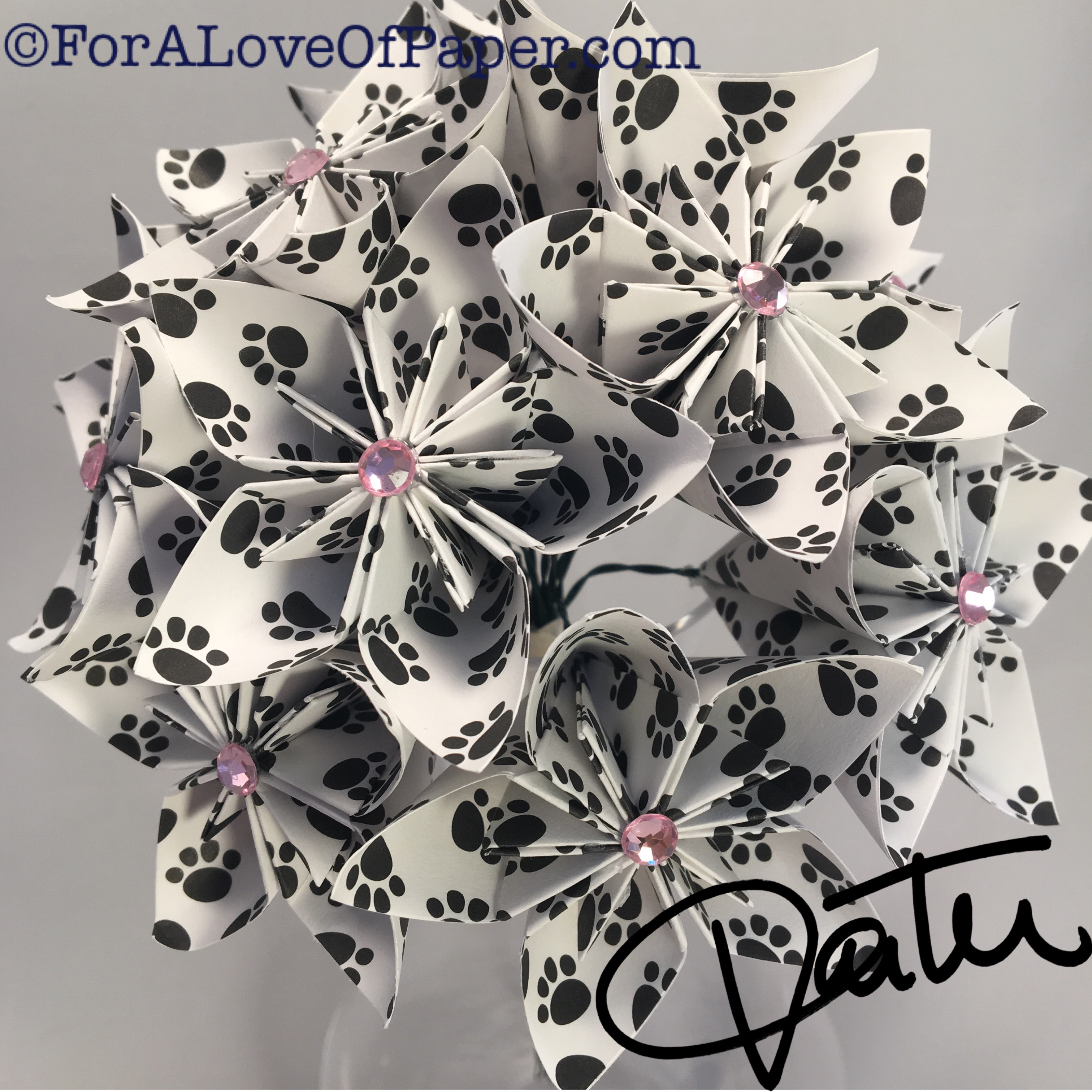 Puppy paw print paper flowers