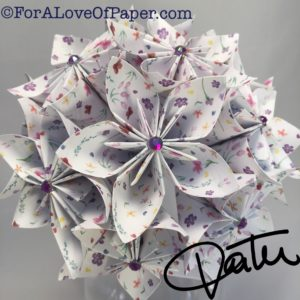 Paper flowers using small purple print paper