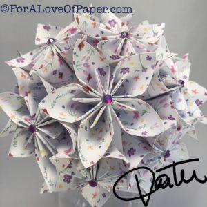 Paper flowers using small purple print paper