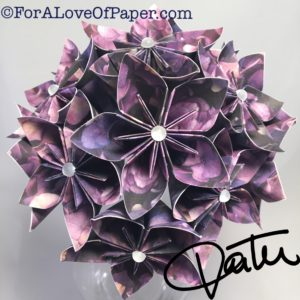 Paper flower bouquet made from hydrangea print