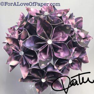 Paper flower bouquet made from hydrangea print
