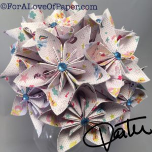 Paper flower bouquet made from my little pony paper with blue gems