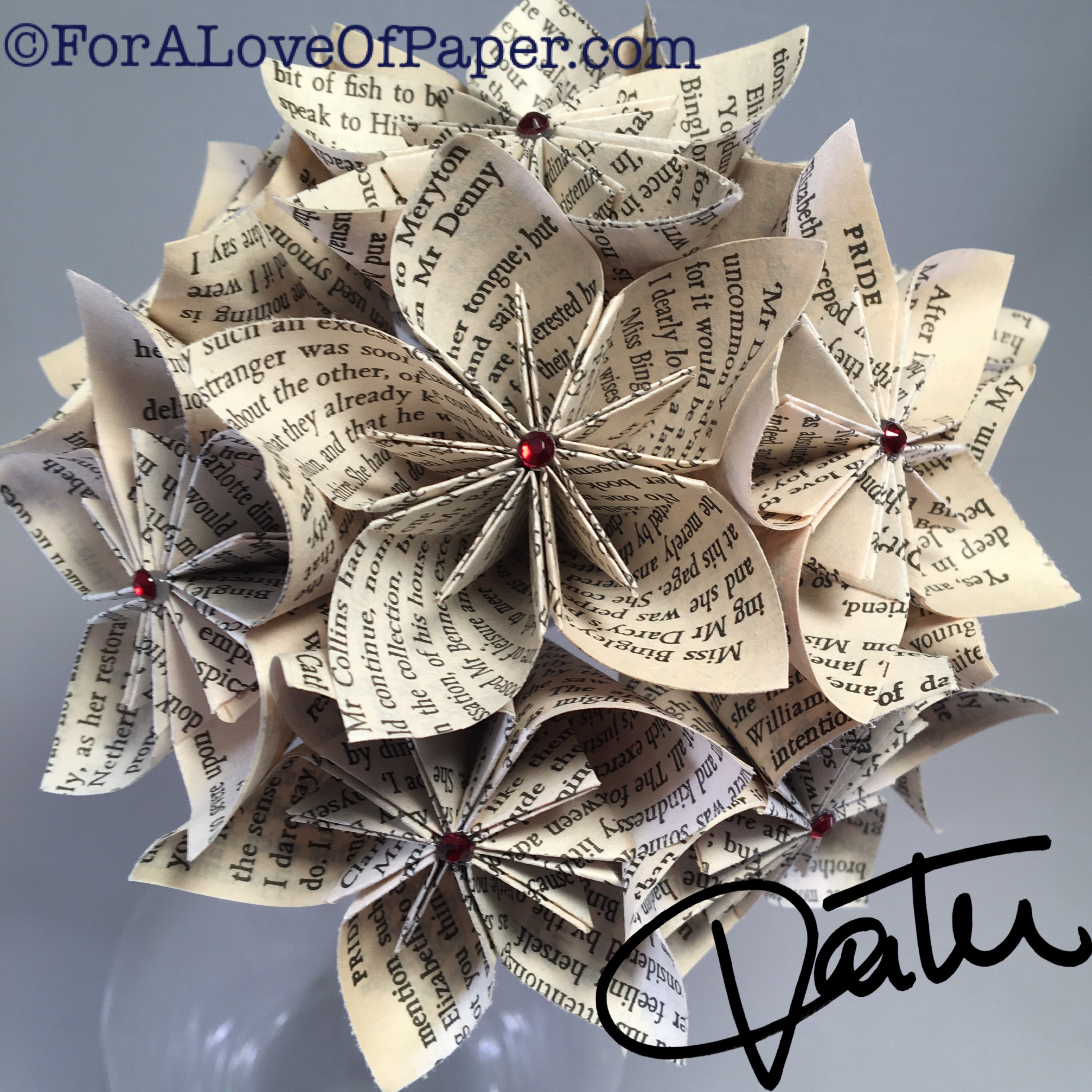 Paper flower bouquet made from Pride and Prejudice novel