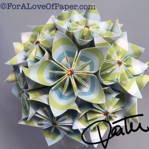 Paper flower bouquet made from summer shades of blue and green