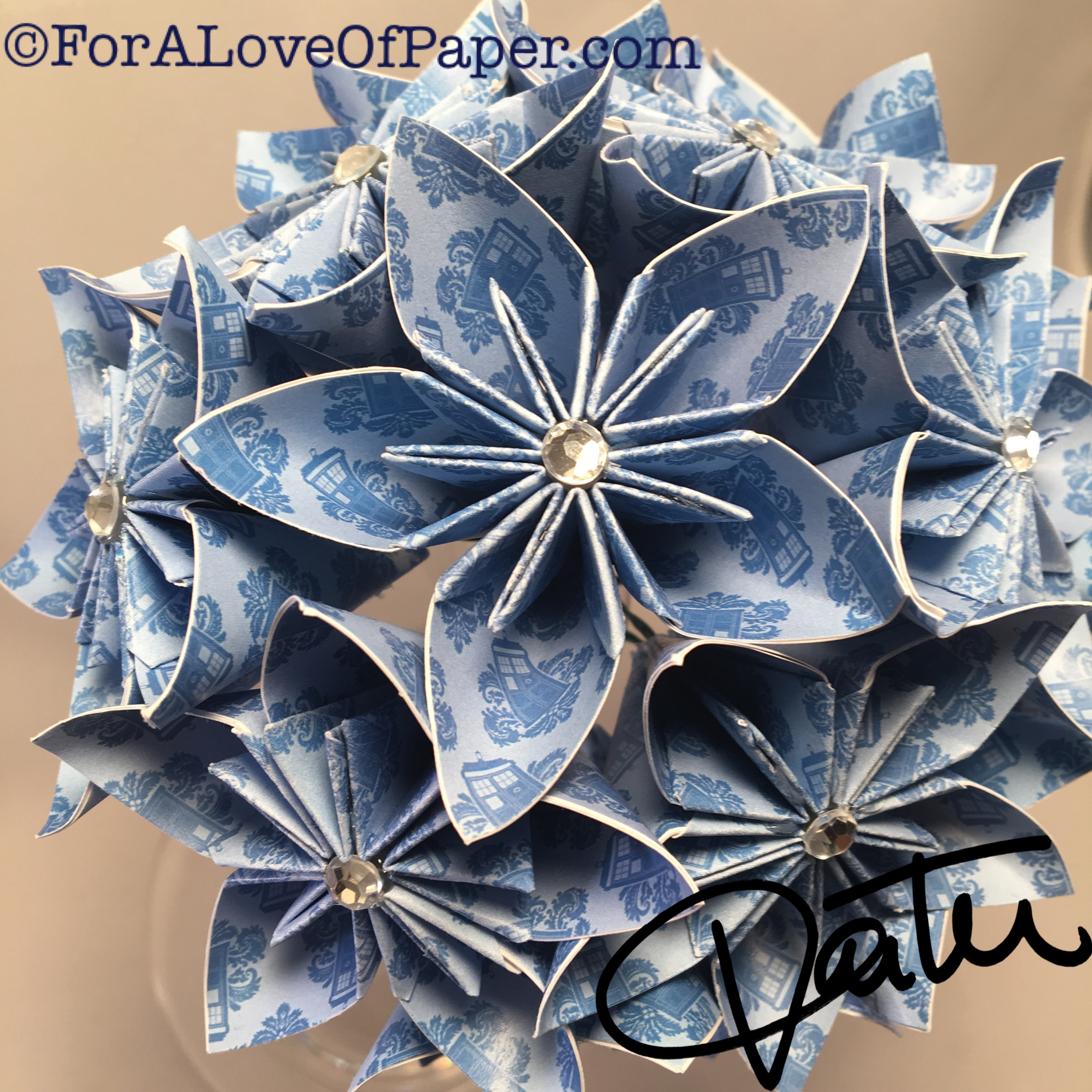 Paper flower bouquet made from TARDIS print paper