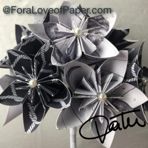 Paper flowers in cape cod themed scrapbook paper