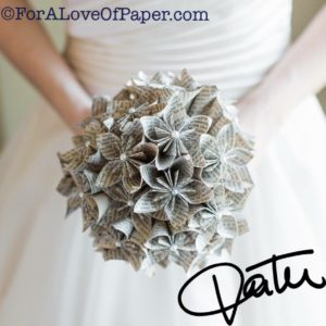 Paper flower wedding bouquet made from book Pride & Prejudice
