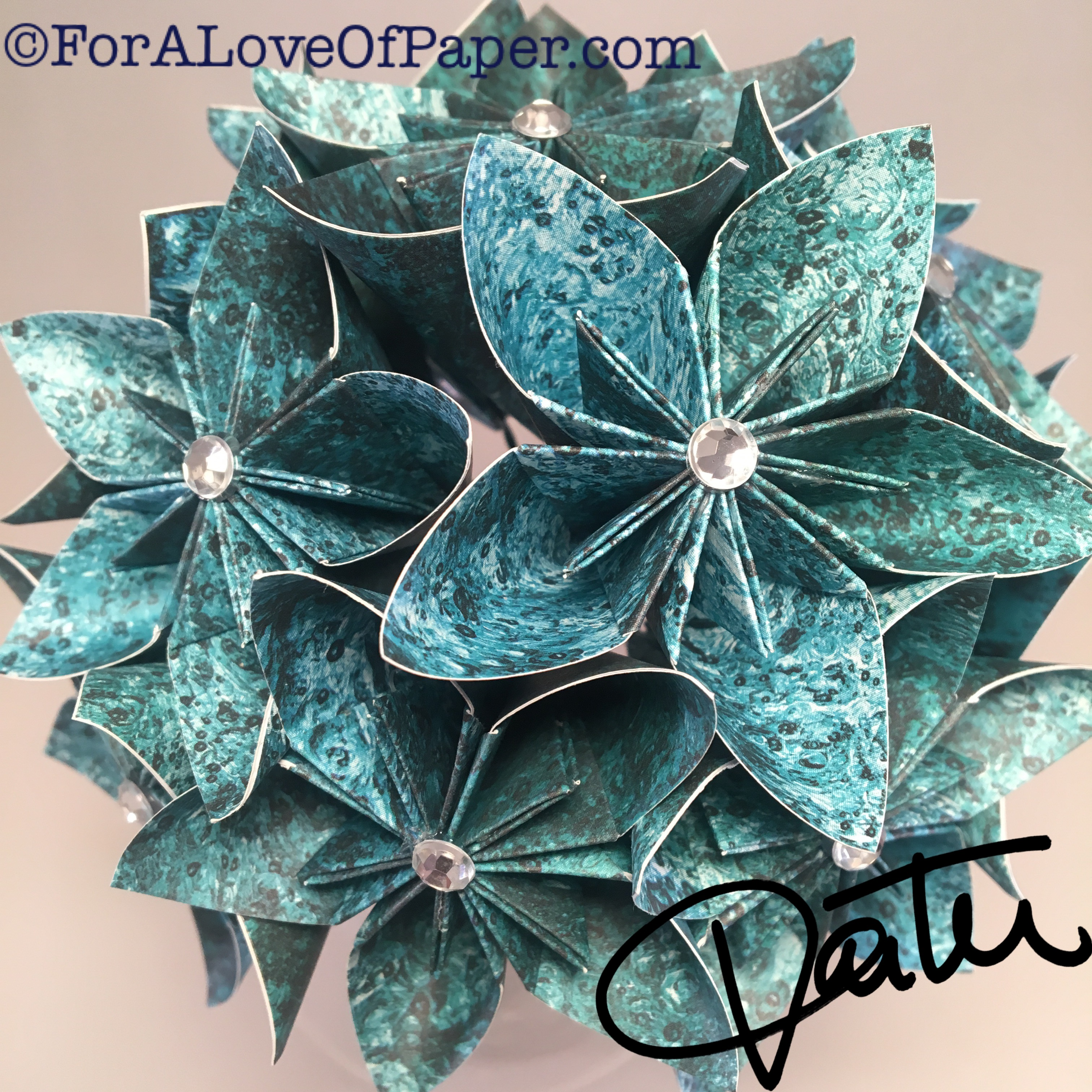 Paper flowers in water drops themed scrapbook paper